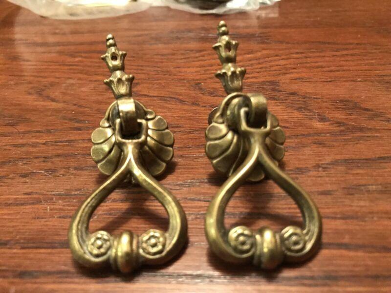 Pair Ornate Vintage Heavy Brass Drop Drawer Pulls Handles Cabinet Furniture