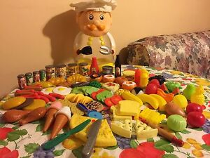 Pretend play food set in chef box with shopping cash register