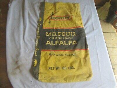 Vintage Alfalfa Seed Sack Security 60 lb Size Only 1 on eBay Lot 20-50-5