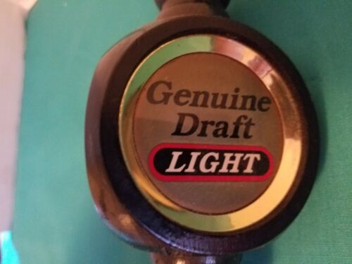 Genuine Draft Light (MILLER) Three Sided Wooden Vintage Bar Style Beer Tap Handl