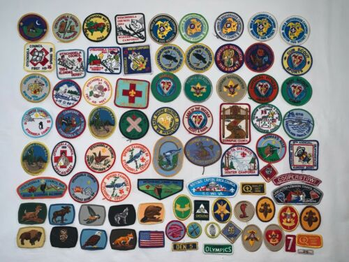 Vintage Boy Scout Lot 80+ Patches Badges Pins Rope Keychain New & Used 80