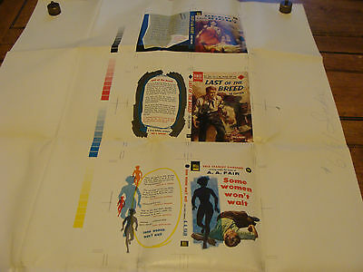 Vintage Printing Sample Poster of 3 BOOKCOVERS, DELL PUBLISHING, 28X38; #6161