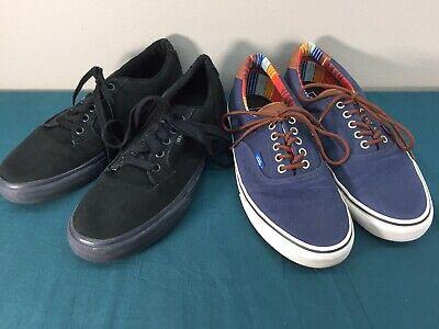 LOT 2 Pairs Lace Up Low Top Lace Up Vans Shoes Mens sz 10 Navy Blue Black