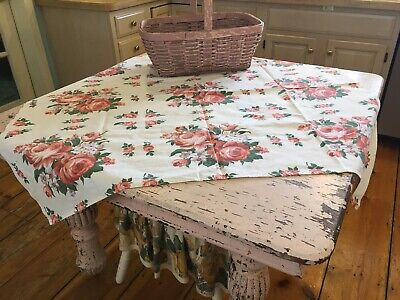 Adorable 1940s-1960s Antique Kitchen Tablecloth Huge Pink Roses Cotton Fabric #G