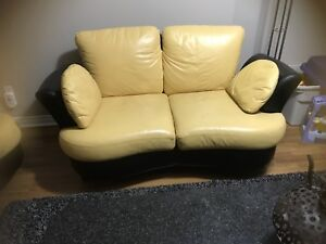 Yellow Leather Couch and Loveseat