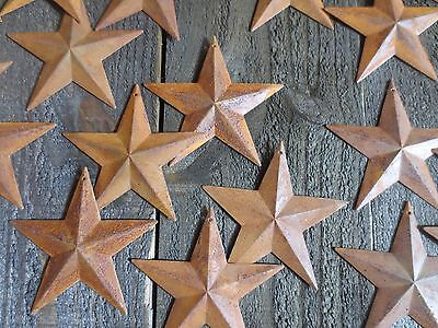 """Lot of 25 Rusty Tin Barn Stars 3.75 inch 3 3/4"""" Rusted Primitive Country 3.5 in."""
