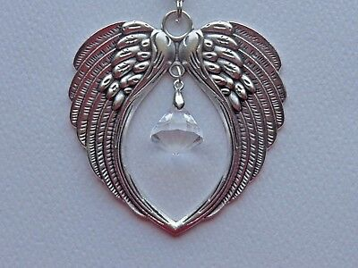 ANGEL WINGS CRYSTAL SUN CATCHER CAR REAR VIEW MIRROR CHARM ORNAMENT (Mirrored Angel Wings)