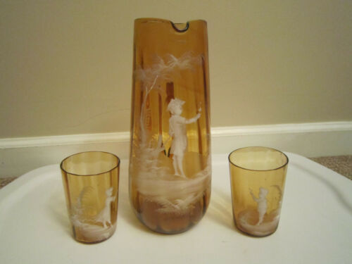 Antique Mary Gregory Blown Amber Water Pitcher & 2 Tumblers
