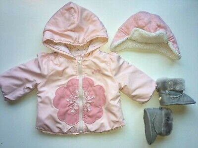 Baby Gap Girl 0-6 Months Pink Coat and Hat with Grey Boots 0-3 Months