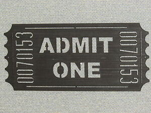 Movie Theater Ticket Wood Wall Art Cinema Home Sign