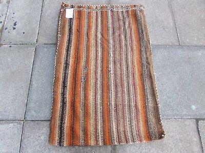Old Hand Made Persian Oriental Wool Orange Colourful Tribal Kilim Bag 114x76cm