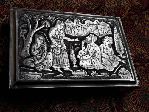PERSIAN ART EXHIBITION FASCINATING LARGE SOLID SILVER BOX