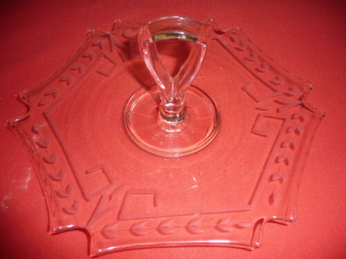 PINK DEPRESSION GLASS ETCHED SANDWICH PLATE OR TIDBIT DISH