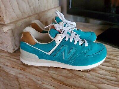 New Balance Womens NB WL574XEB Aqua Teal Blue sz 8.5 Running Shoes Suede USA Vin