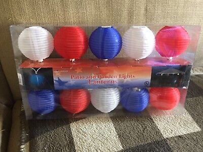 10 end to end Patio and Garden Party Lights - Red white and blue Lanterns