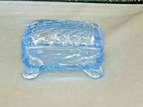 Cigarette Box w Lid-Moonlight Blue Caprice-Cambridge Elegant Glass-Vtg 1936-58