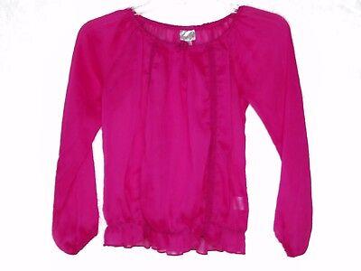 m Sheer Gypsy Blouse Top Long Sleeve Hot Pink (Hot Gypsy Girls)