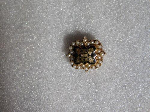 Old 1937 10k Gold Phi Mu Sorority Pin Badge w/Seed Pearls