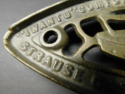 "Vintage Cast Iron Footed Sad Iron Trivet - Advertising ""IWANTU"" Strause Gas Iron"