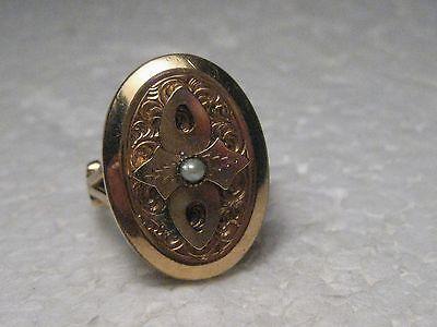 Vintage Victorian/Edwardian 10-14Kt Gold Ring, Seed Pearl, size 4.5, 5.65 gr.