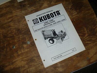 Kubota G2500 G2505 Snow Blower For Tractor G4200 Operator Maintenance Manual