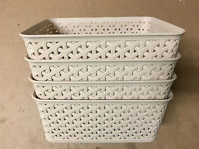 Plastic Baskets With Handles (Honla Weaving Plastic Storage Baskets/Bins Organizer With Handles,Set Of)