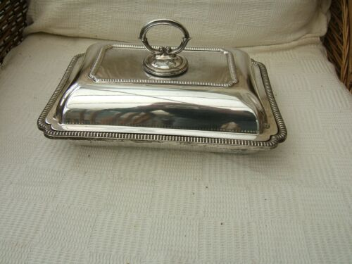 ANTIQUE RECTANGULAR SILVER PLATED TUREEN WITH LID..  HARRISON BROTHERS.