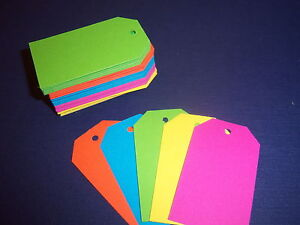 100 Handmade Blank Gift Tags - Bright Neon - Cardstock Price Hang 1.5 x 2.5 in