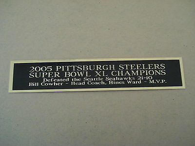 Pittsburgh Steelers Super Bowl 40 Nameplate For A Football Helmet Case 1.25 X 6