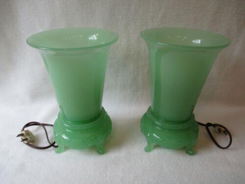 Vintage Pair Art Deco Jadeite Lamps