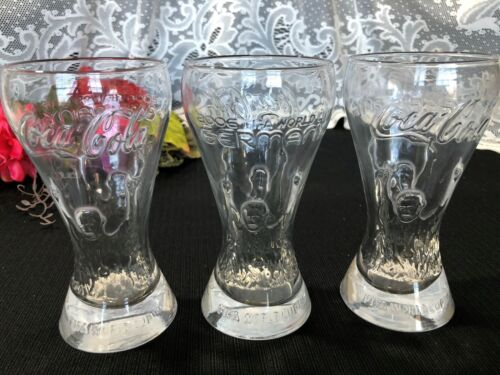 """Set of 3 Coca Cola Germany """"Fifa World Cup 2006"""" Glass Tumblers 6 1/4"""""""