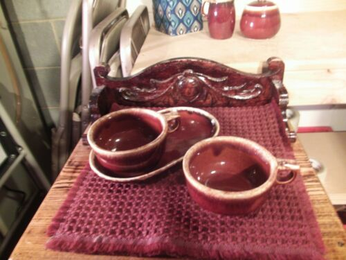 HULL BROWN DRIP LOT OF 2 LARGE SOUP MUGS AND 1 SANDWICH SOUP PLATE USA