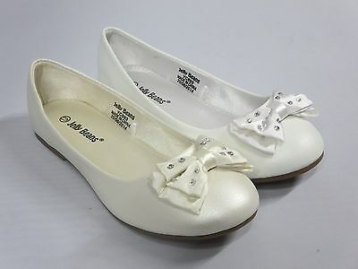 Girls Flats w/ Bow (Titi) Youth Flower Girl White Off-White Pearl Dress Shoes - Girls Flower Girl Shoes