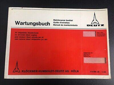 Vtg 1st Ed. Deutz For Air Cooled Diesel Engines Maintenance Booklet -h 0199-25