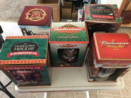 Budweiser Stein Holiday and Anniversary Collection COA and Original Boxes