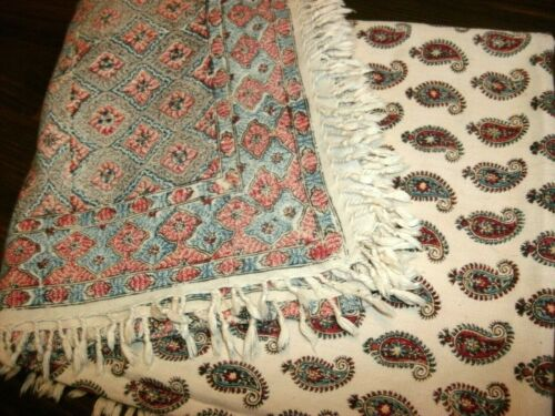 VINTAGE MIDDLE EASTERN STAMPED DESIGN ON COTTON TABLE CLOTH, 58""