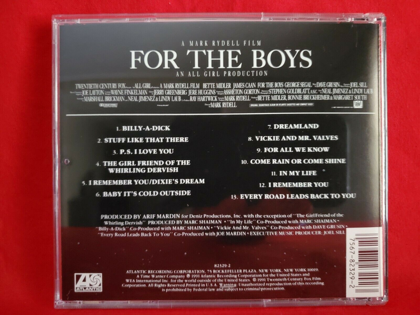 For The Boys 1991 Atlantic Soundtrack CD Bette Midler - $1.98