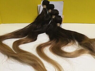 Hair Extension Set 4  Bundles 14 Inch  Dark And Light Brown Human hair  for sale  Shipping to India