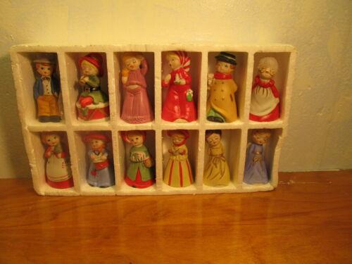 set of 12 porcelain bisque bells