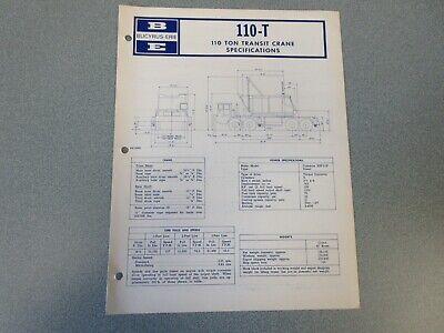 Rare Bucyrus-erie 110-t Crane Excavator Spec Information 1967