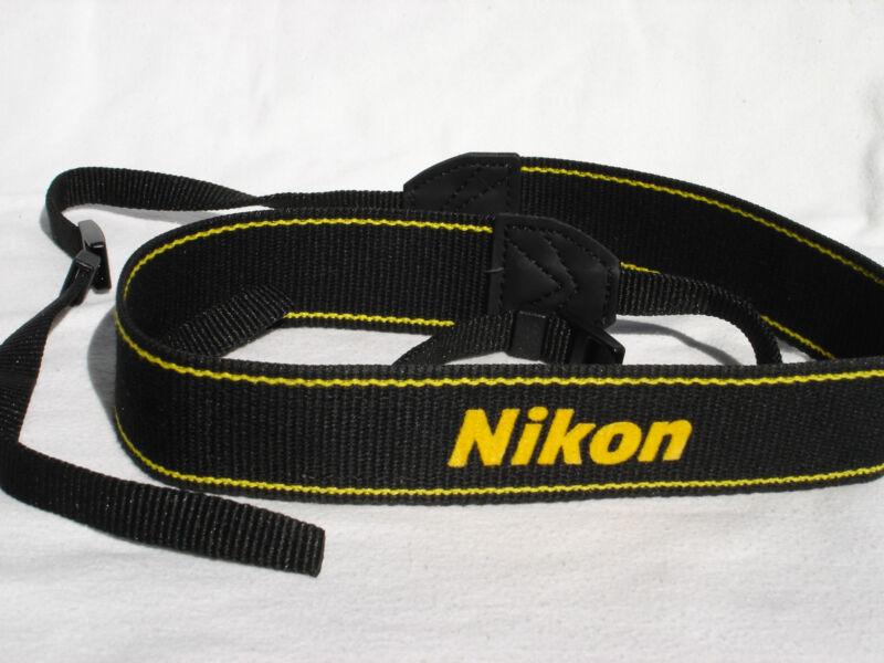 Genuine NIKON CAMERA NECK STRAP  AN-DC3  Black / Yellow (three logo model)