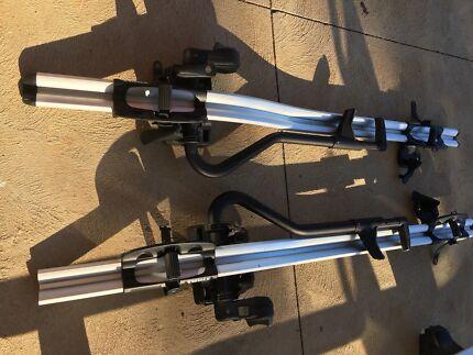 Genuine Thule whisbar and pro-ride bike rack x2