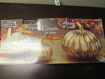 Decorative Glass Pumpkins - Set of 3 - Gold - Fall Halloween Thanksgiving