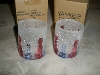 NIB Lot of 2 Yankee Candles Cotton Tails Crackle Votive/ Tealight Holders