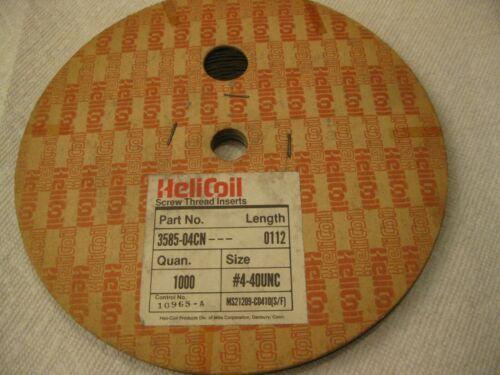 "#4-40 x .112"" Helicoil Screw-Locking Thread Insert 1000pc Roll"