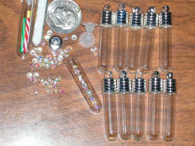 1 Glass Rice Bottle Vial TUBE charm bracelet pendant *