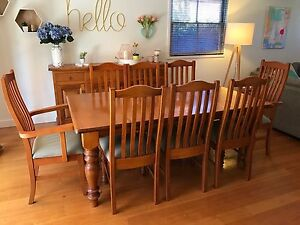 Dining Set - Table, 8 chairs and buffet. Solid Oak. Geelong Geelong City Preview