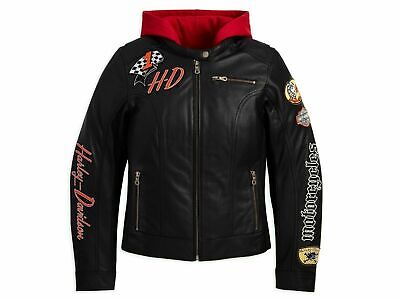 Harley Davidson Womens JOYRIDE Black Leather Jacket Red Hoodie 3in1 M 97071-11VW