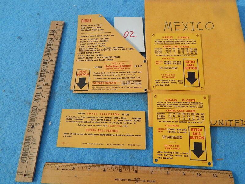 1947 United MEXICO Instruction & Award Cards - 4 each