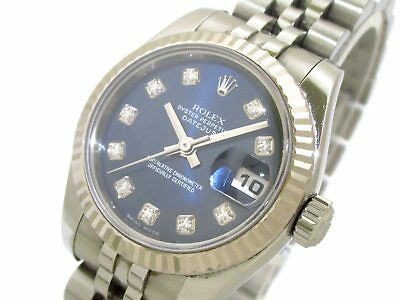 Auth ROLEX Datejust 179174G 18K White Gold Women's Wrist Watch D683799